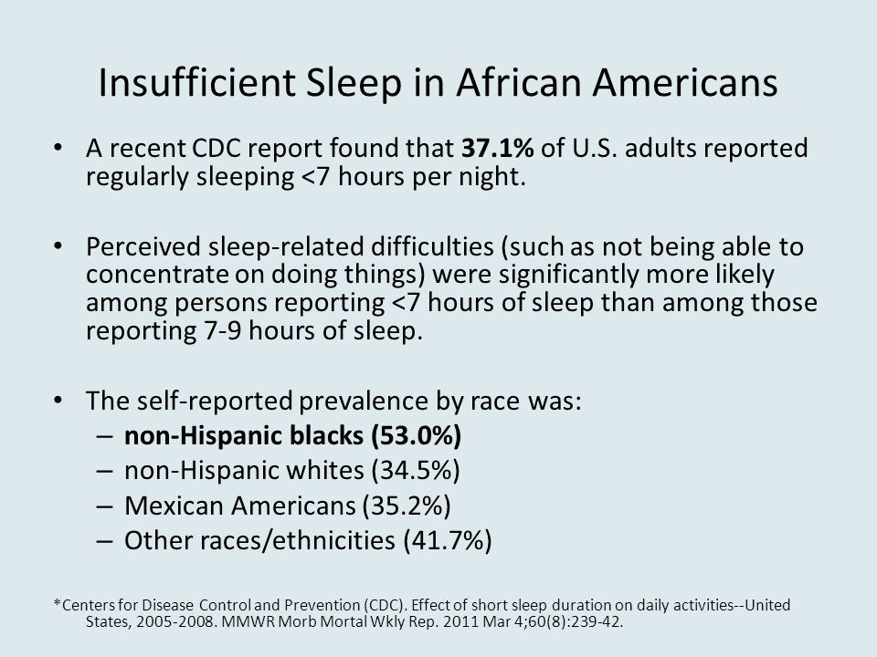 Insufficient Sleep in African Americans