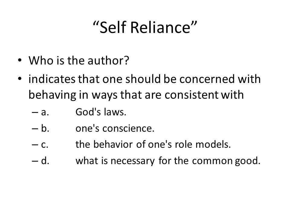 Self Reliance Who is the author