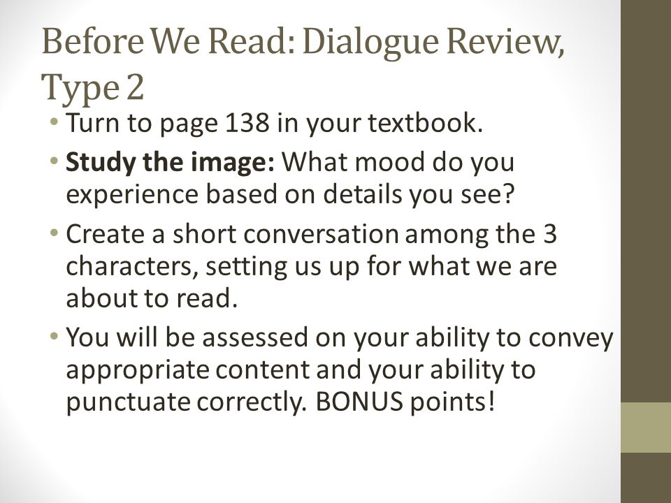 Before We Read: Dialogue Review, Type 2