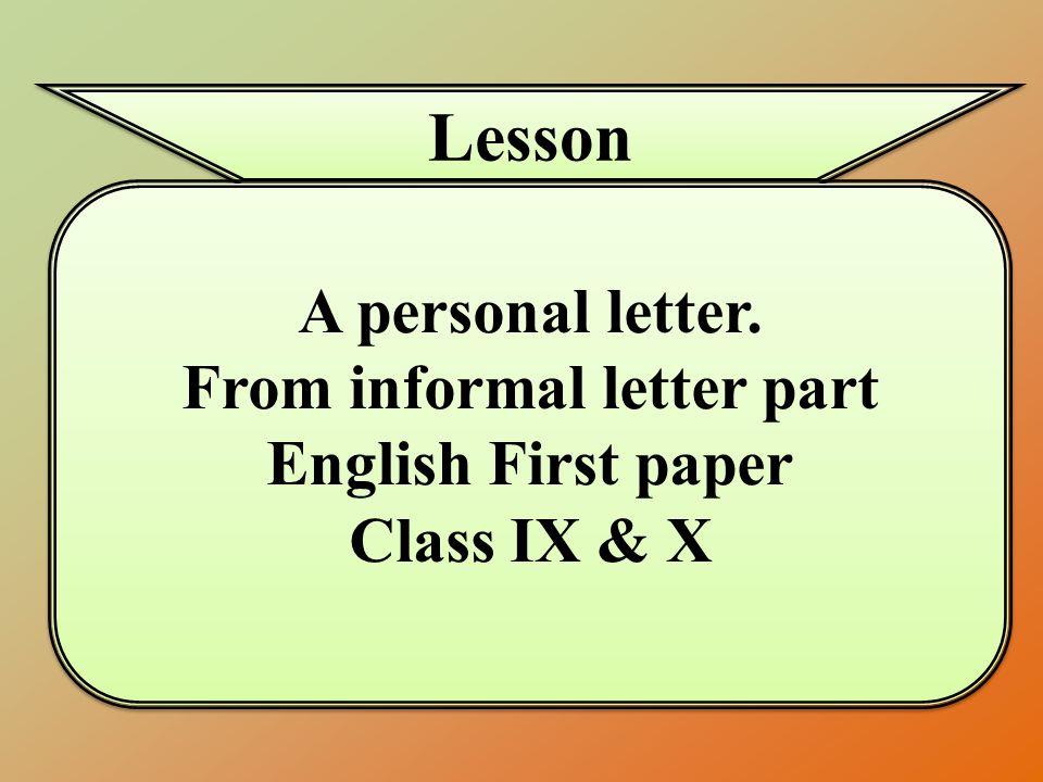 From informal letter part