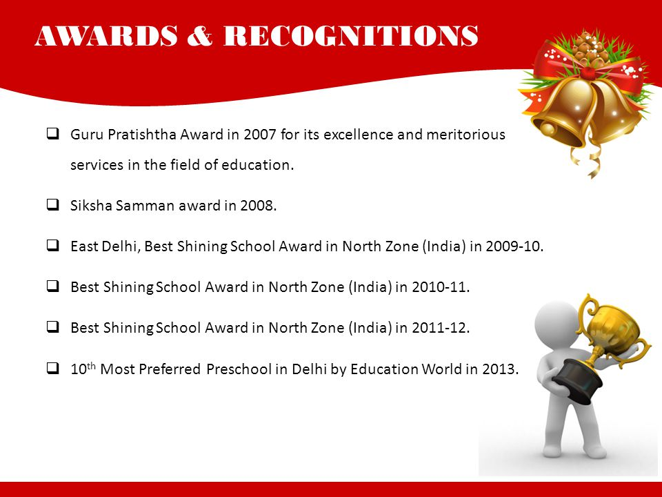 AWARDS & RECOGNITIONS Guru Pratishtha Award in 2007 for its excellence and meritorious services in the field of education.