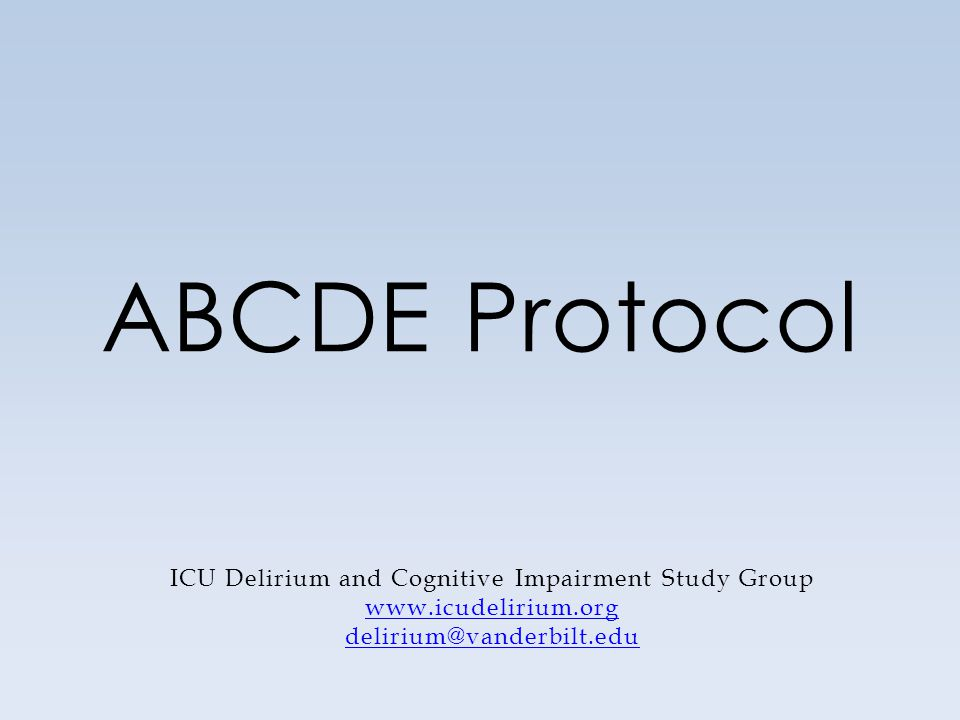 ICU Delirium and Cognitive Impairment Study Group