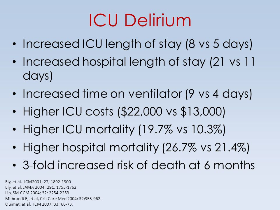 ICU Delirium Increased ICU length of stay (8 vs 5 days)