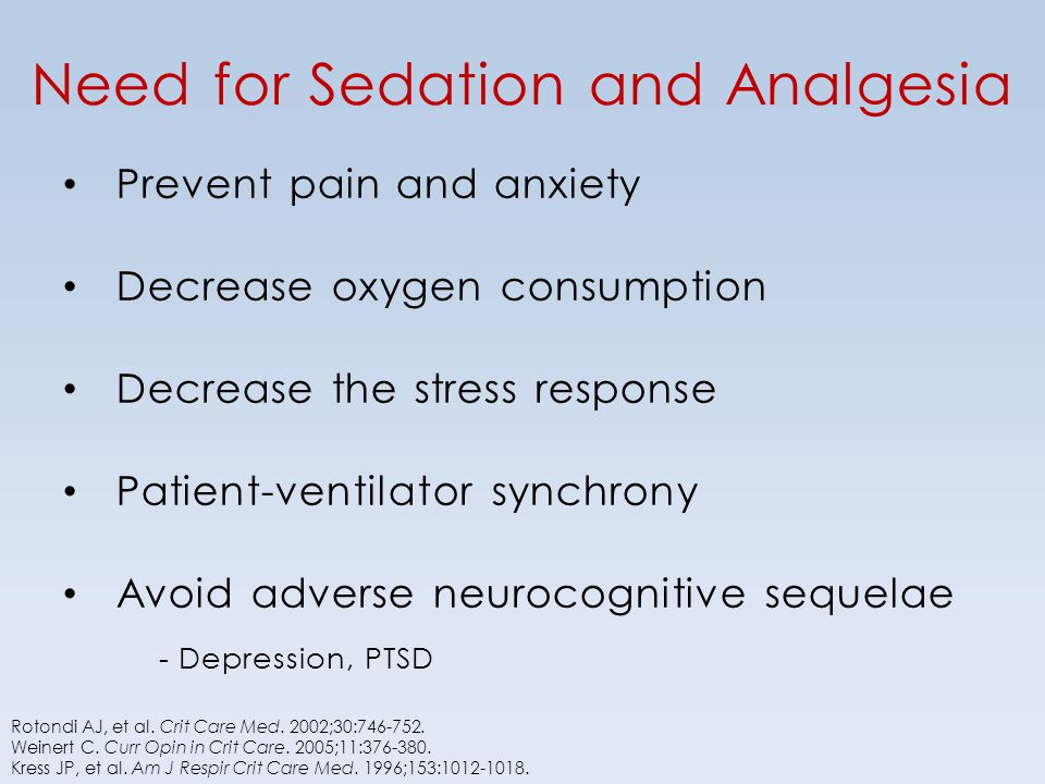 Need for Sedation and Analgesia