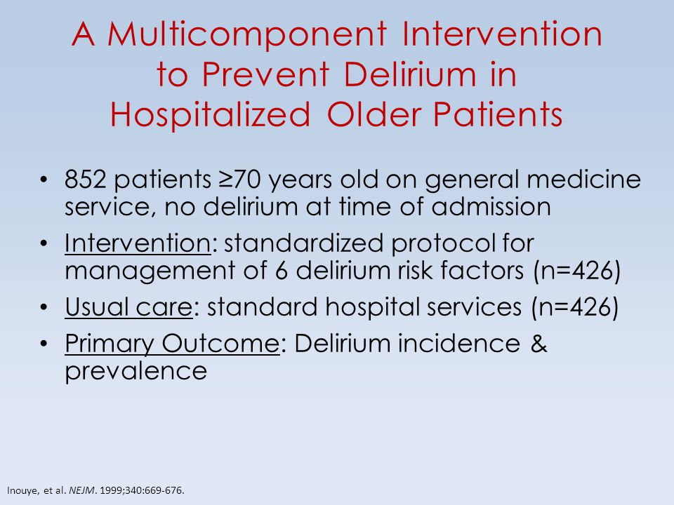 A Multicomponent Intervention to Prevent Delirium in Hospitalized Older Patients