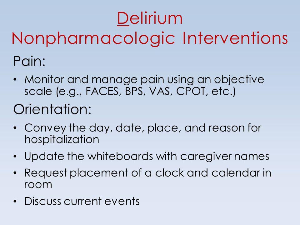Delirium Nonpharmacologic Interventions