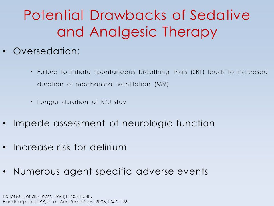 Potential Drawbacks of Sedative and Analgesic Therapy