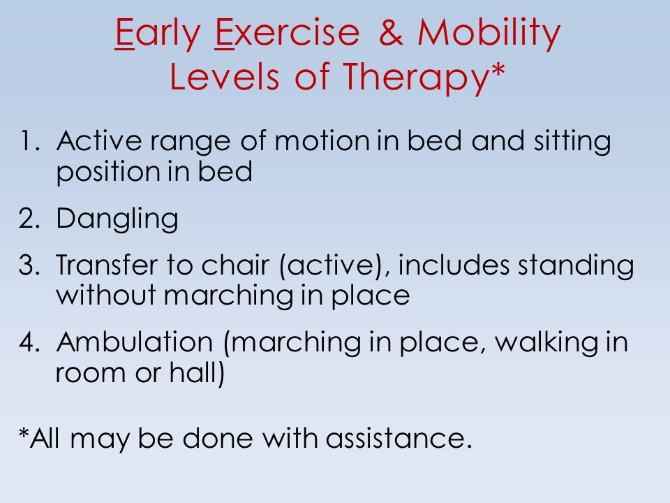 Early Exercise & Mobility Levels of Therapy*