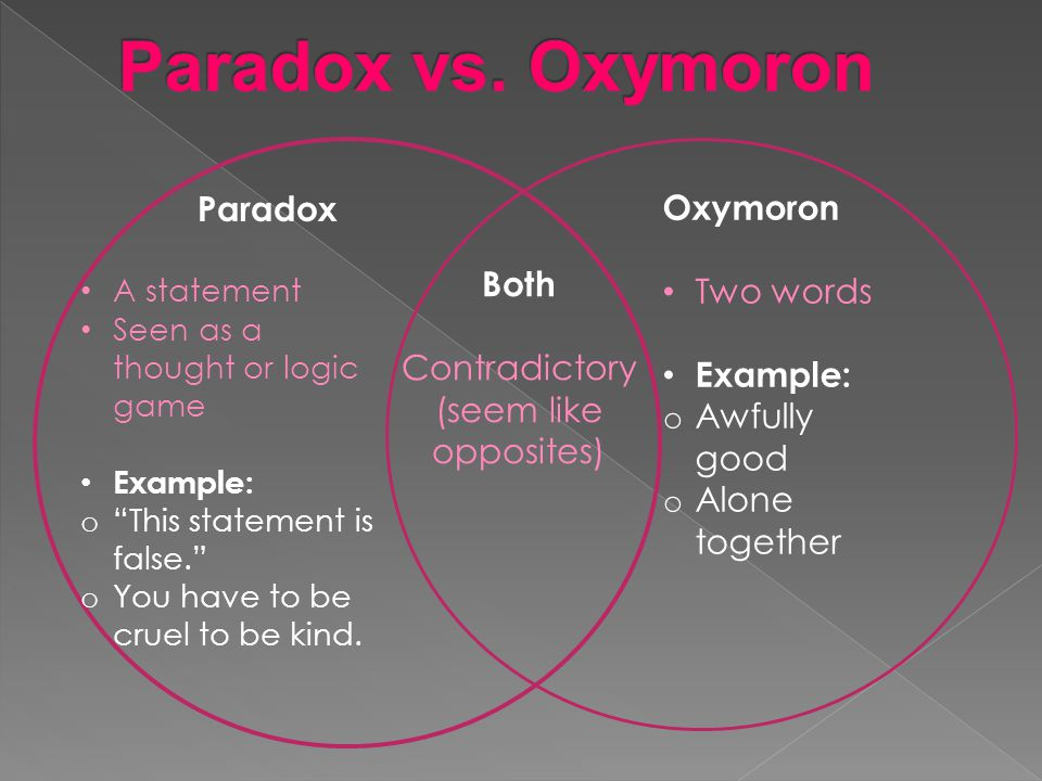 oxymoron vs paradox vs antithesis Literary paradox vs logical paradox antithesis and oxymoron paradox litcharts llc, may 5, 2017 retrieved may 5.