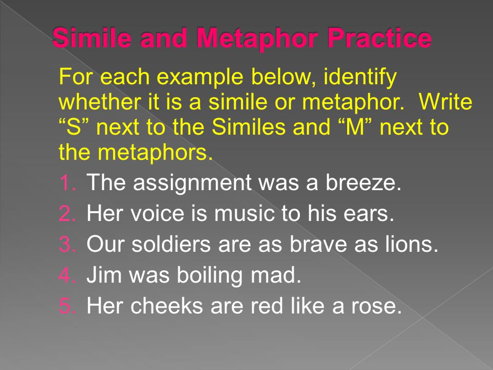 Simile and Metaphor Practice