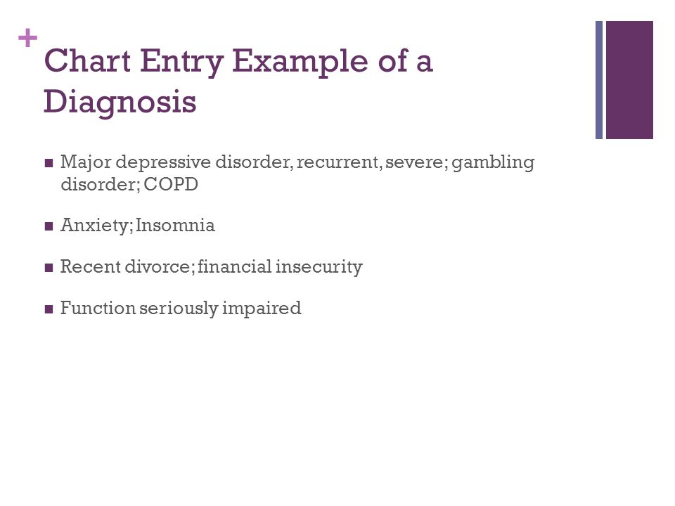 Chart Entry Example of a Diagnosis