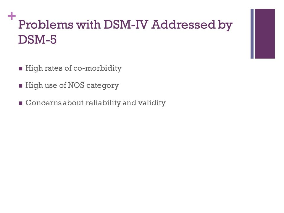 Problems with DSM-IV Addressed by DSM-5