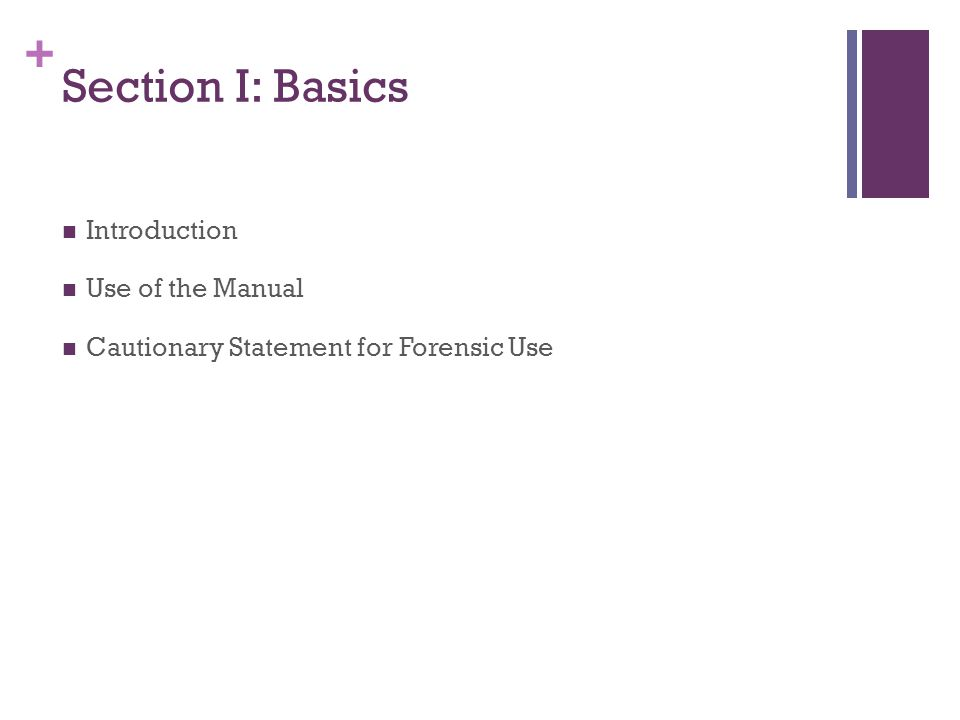 Section I: Basics Introduction Use of the Manual