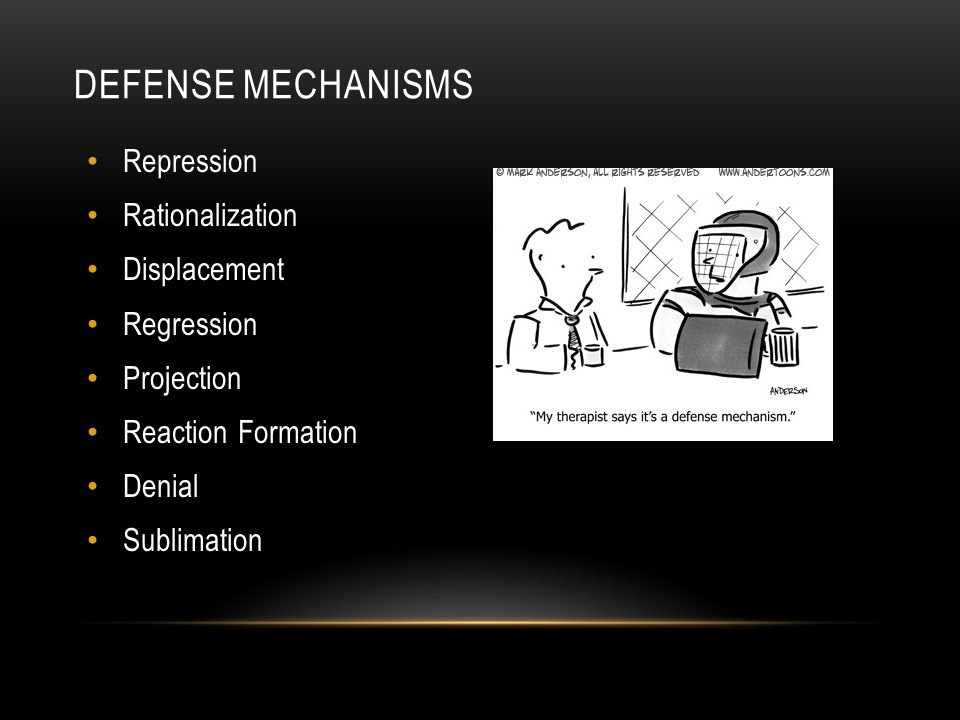 Defense Mechanisms Repression Rationalization Displacement Regression