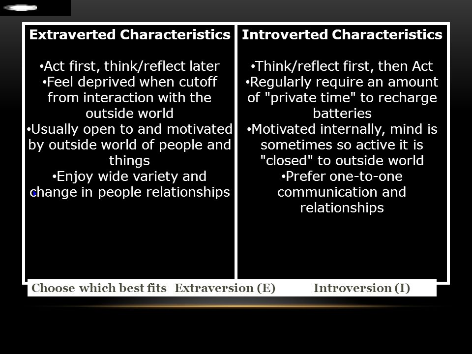 Extraverted Characteristics Introverted Characteristics