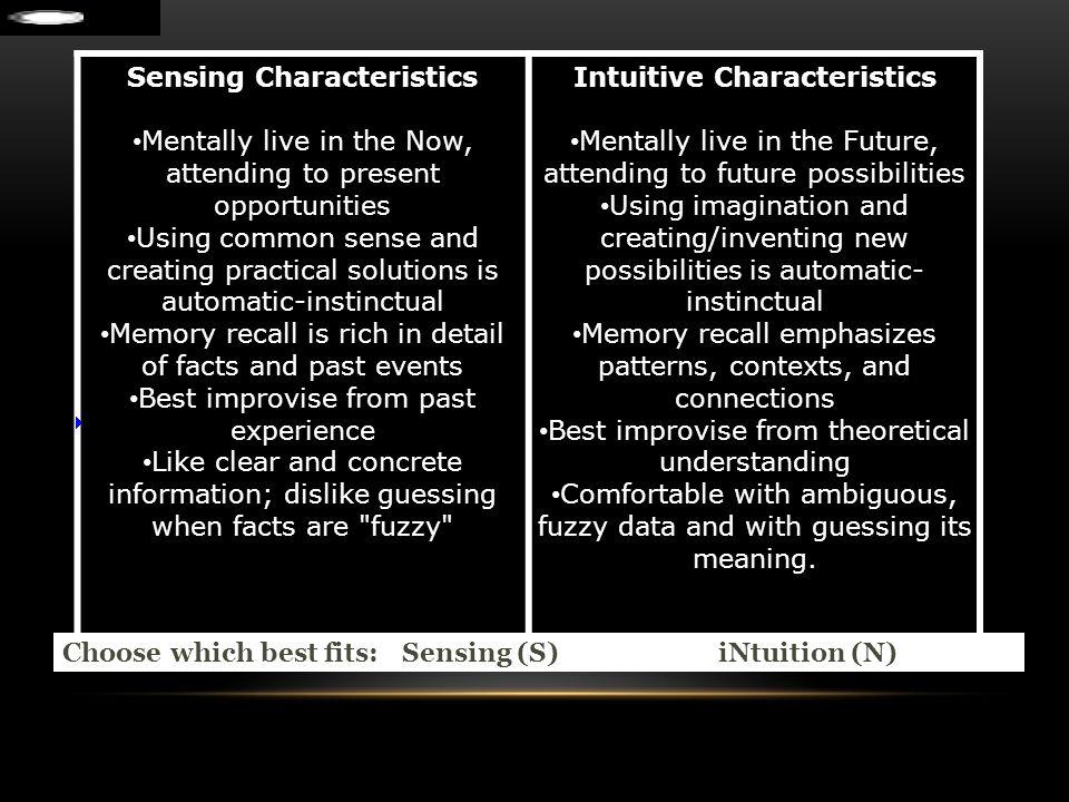 Sensing Characteristics Intuitive Characteristics