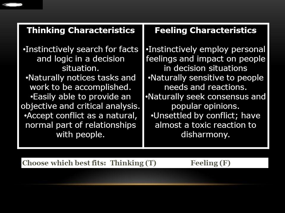 Thinking Characteristics Feeling Characteristics