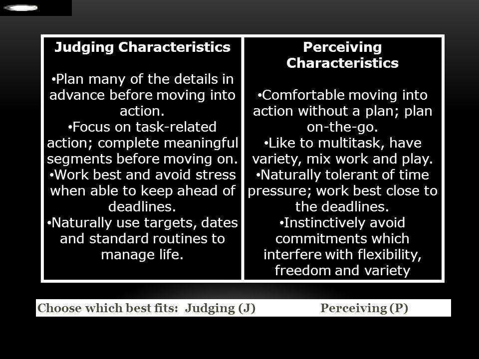 Judging Characteristics Perceiving Characteristics