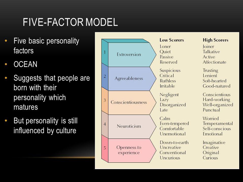 Five-factor model Five basic personality factors OCEAN