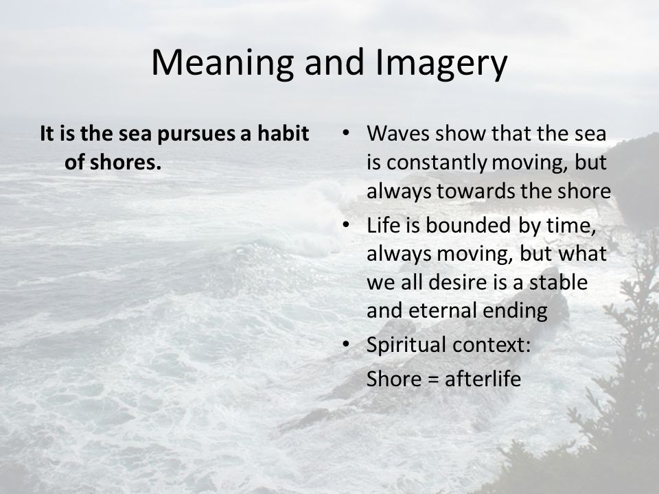 Meaning and Imagery It is the sea pursues a habit of shores.