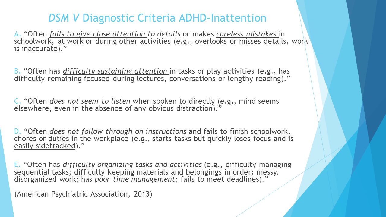 DSM V Diagnostic Criteria ADHD-Inattention