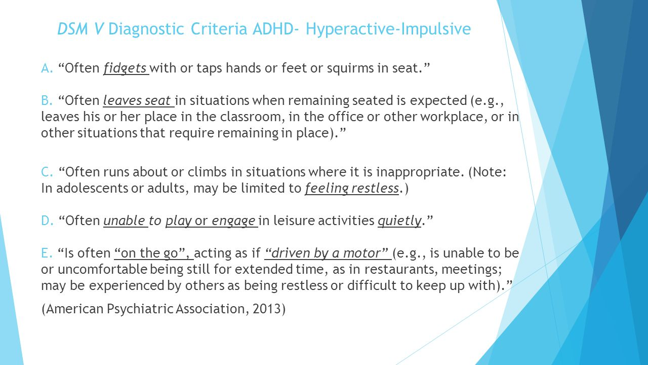 DSM V Diagnostic Criteria ADHD- Hyperactive-Impulsive
