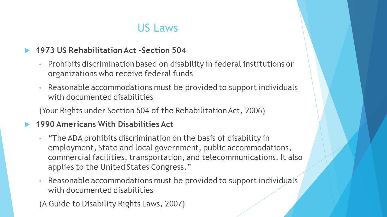 US Laws 1973 US Rehabilitation Act -Section 504