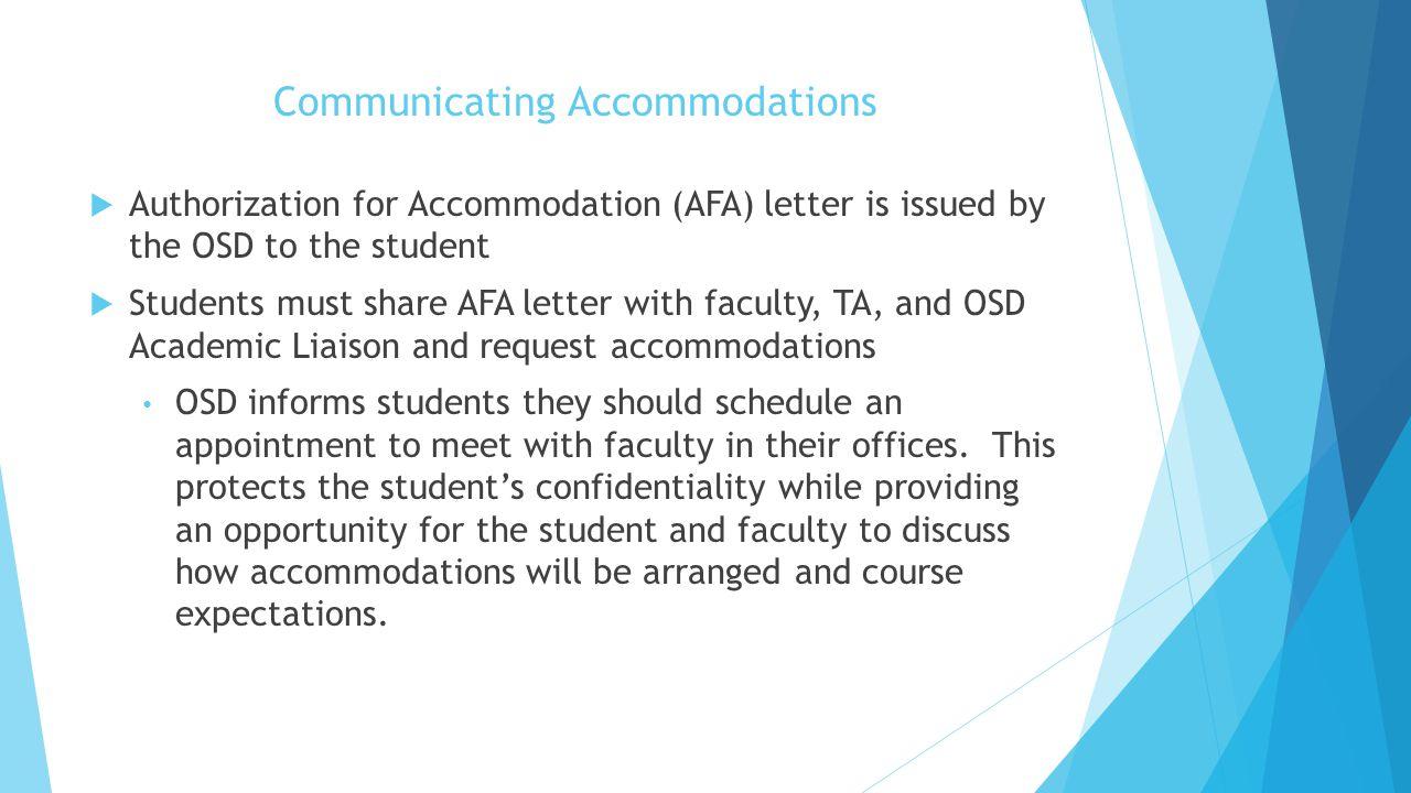 Communicating Accommodations