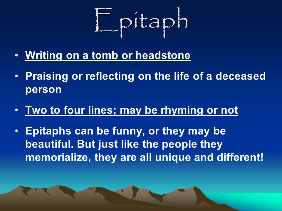 Epitaph Activity Template and Rubric
