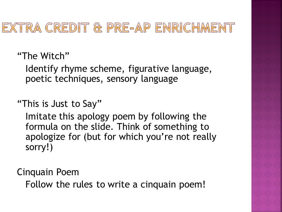 Extra credit & pre-AP enrichment