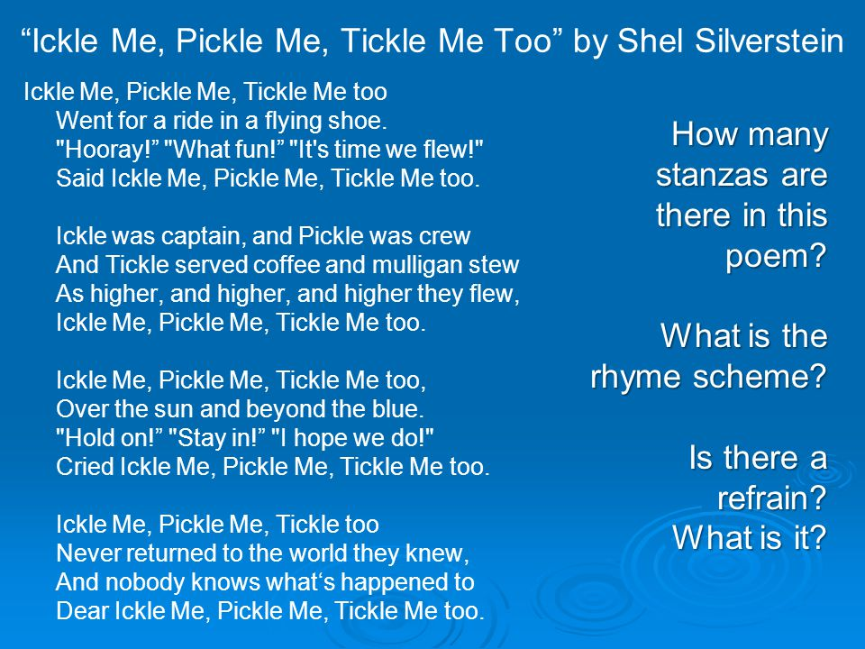 Ickle Me, Pickle Me, Tickle Me Too by Shel Silverstein