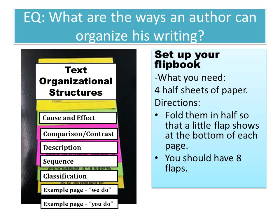 EQ: What are the ways an author can organize his writing