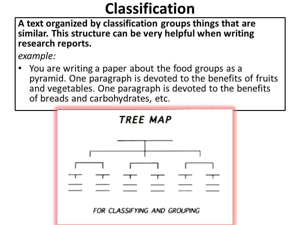 Classification A text organized by classification groups things that are similar. This structure can be very helpful when writing research reports.
