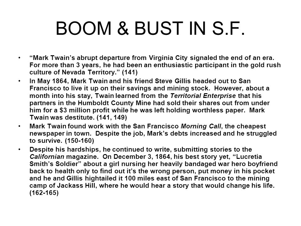 BOOM & BUST IN S.F.