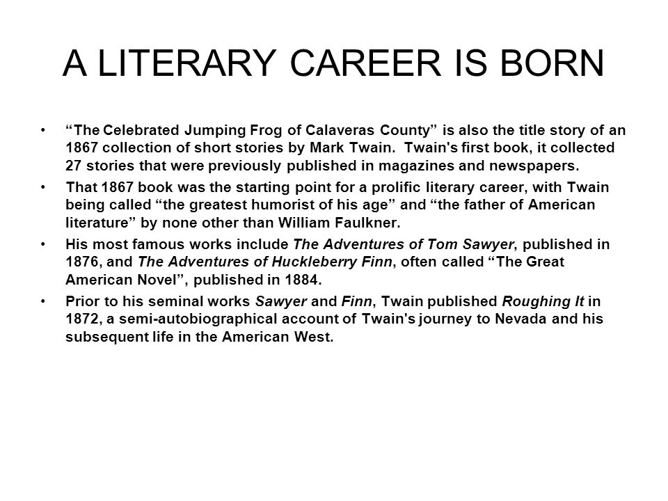 A LITERARY CAREER IS BORN
