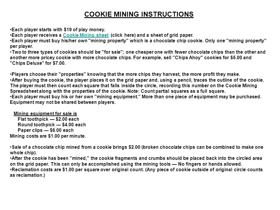 COOKIE MINING INSTRUCTIONS