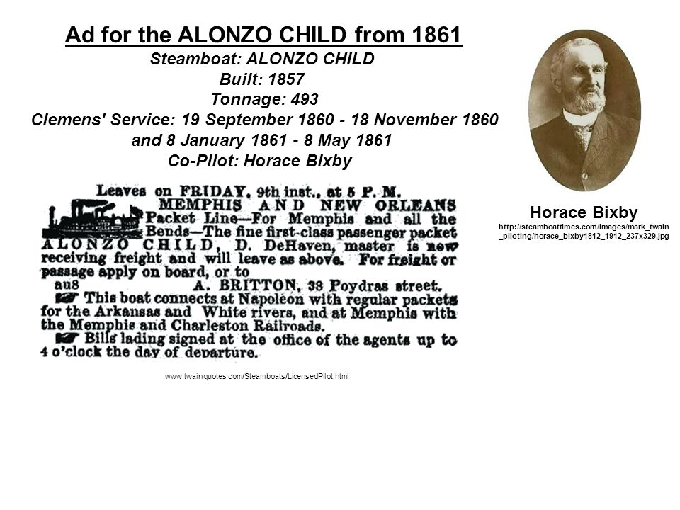 Ad for the ALONZO CHILD from 1861