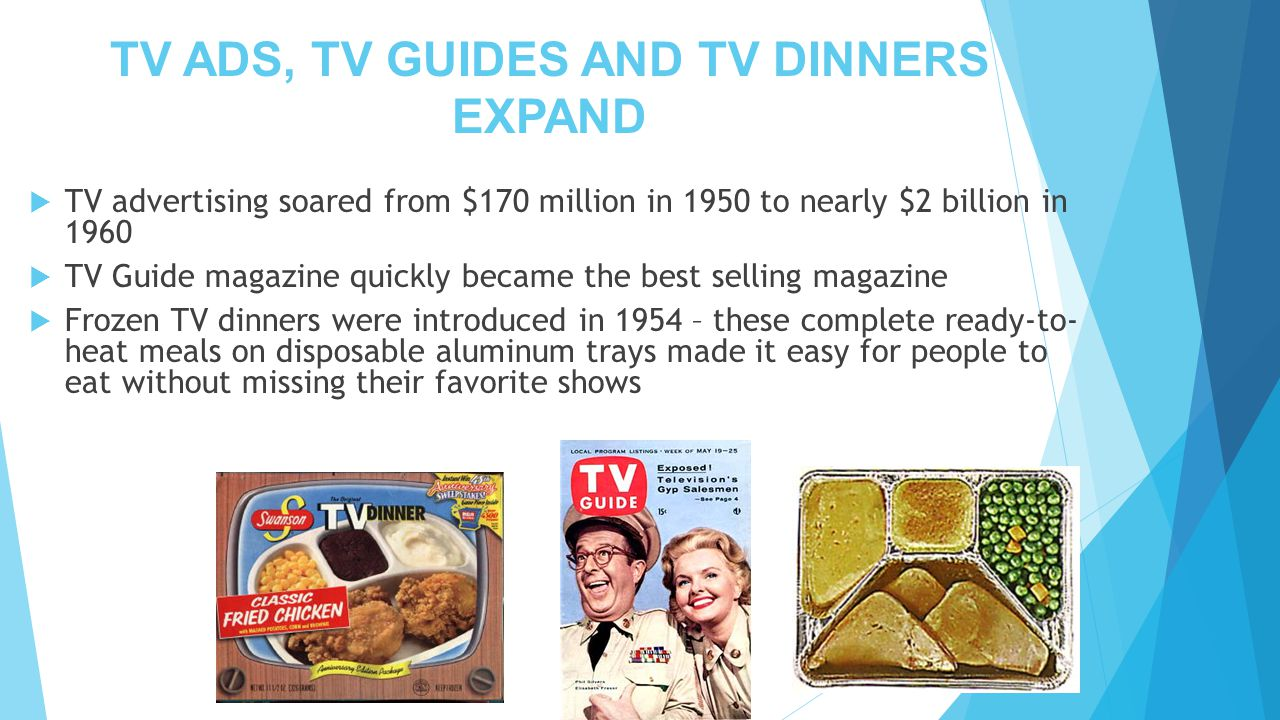 TV ADS, TV GUIDES AND TV DINNERS EXPAND
