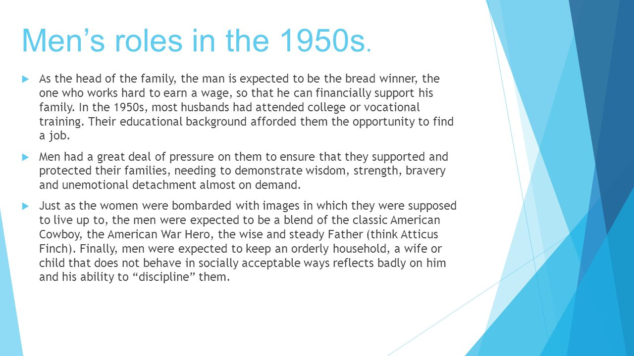 Men's roles in the 1950s.