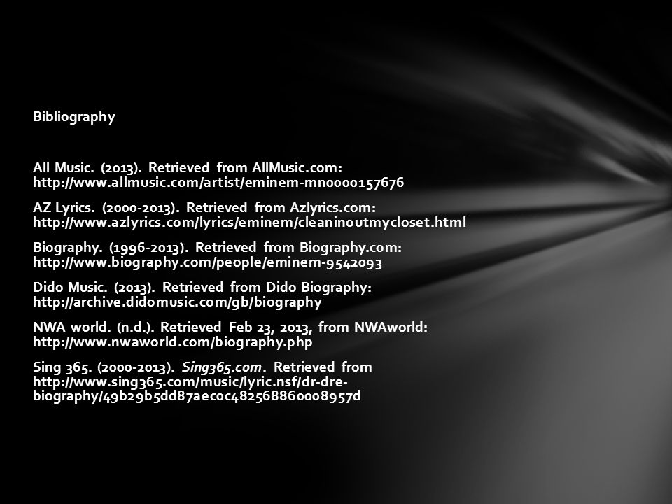 Bibliography All Music. (2013). Retrieved from AllMusic