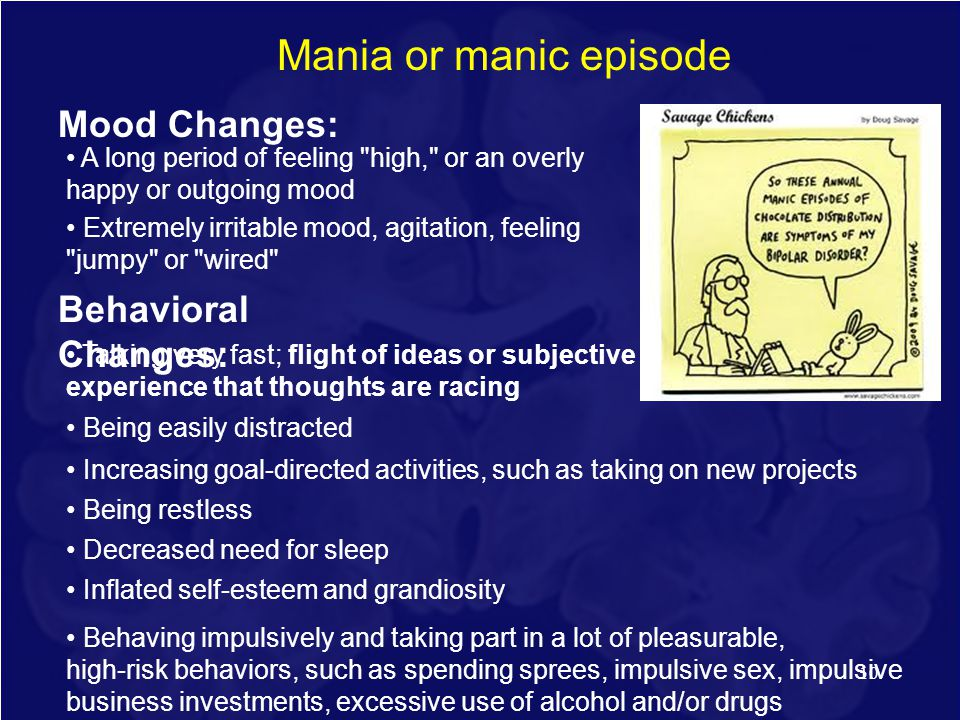 Mania or manic episode Mood Changes: Behavioral Changes: