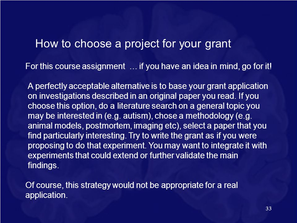 How to choose a project for your grant