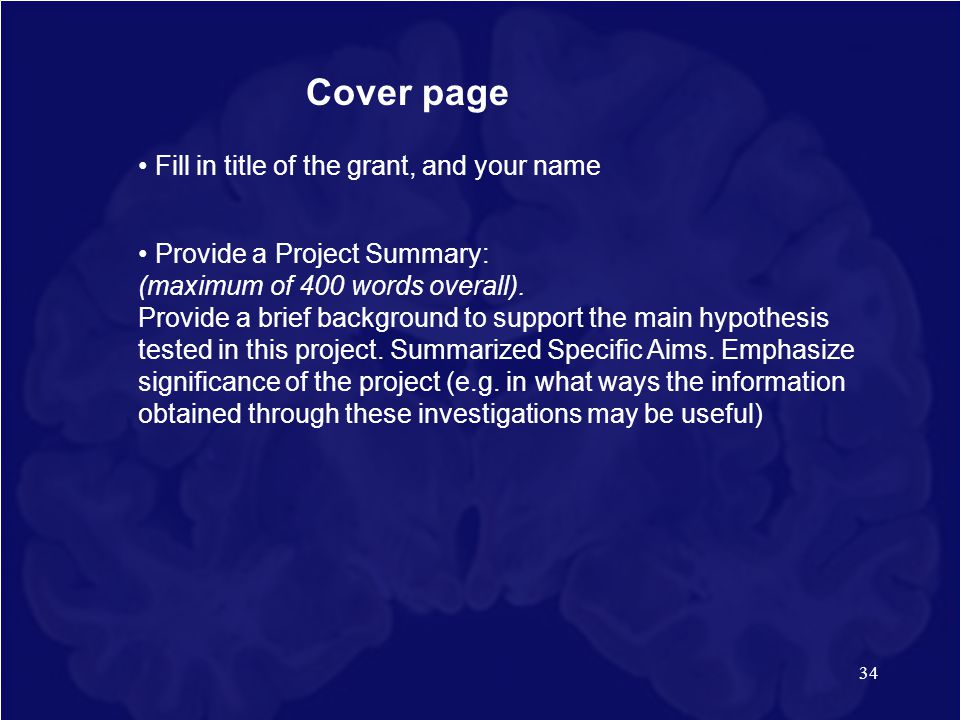 Cover page • Fill in title of the grant, and your name