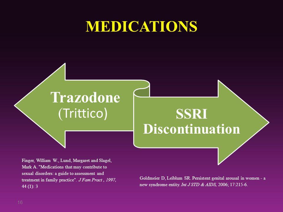 MEDICATIONS Trazodone (Trittico) SSRI Discontinuation