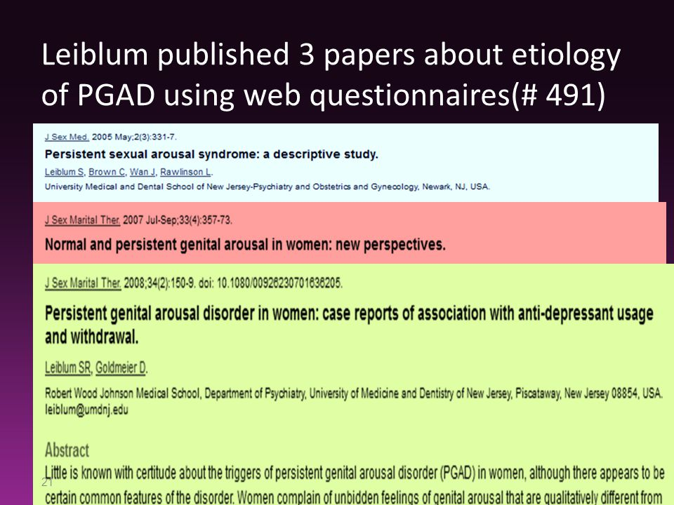 Leiblum published 3 papers about etiology of PGAD using web questionnaires(# 491)