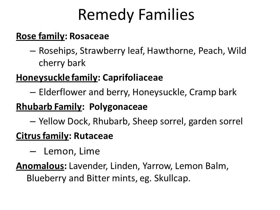 Remedy Families Lemon, Lime Rose family: Rosaceae