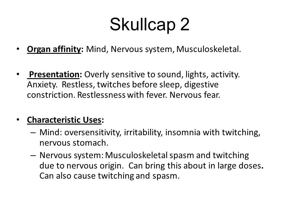 Skullcap 2 Organ affinity: Mind, Nervous system, Musculoskeletal.