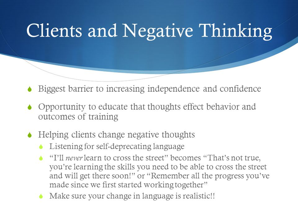 Clients and Negative Thinking