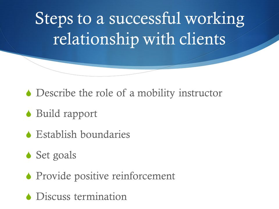 Steps to a successful working relationship with clients
