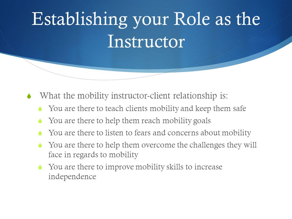 Establishing your Role as the Instructor